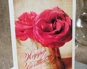 Happy Birthday greeting card - Fine Photography - Roses in antique Nippon Vase