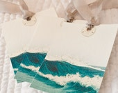 Gift Tags Seaside Ocean Waves Antique Print on Heavy Watercolor Paper Turquoise Aqua Color