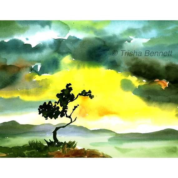 Tree at Dawn After the Storm, Watercolor Tree Print, Tree at Sunrise, Landscape Tree Art, A New Day, A New Start, Inspirational Painting.