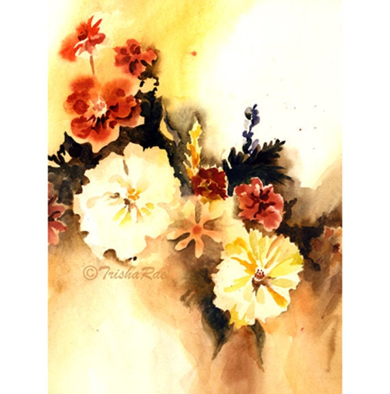 Autumn Flowers Watercolor Print, Warm Colors for Wall Decor, Floral Art for Home Decoration.