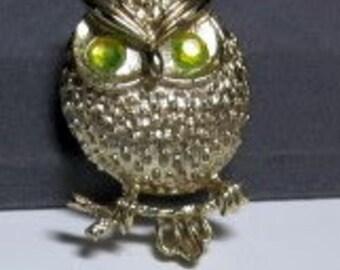 "20% OFF Vintage SARAH COVENTRY ""Hooter"" Owl Brooch-Pin, Gold Tone with Peridot Aurora Borealis Rhinestones"