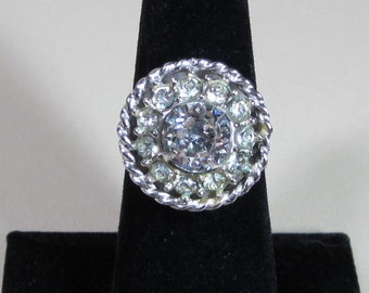 Sarah Coventry's Gorgeous Silver Tone Clear and Yellow Rhinestone Ring