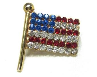 Vintage Flag Pin, Old Glory, USA Flag, Rhinestone Flag Pin Signed