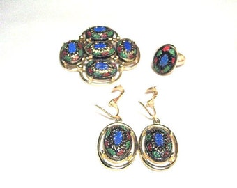 "Vintage Sarah Coventry ""Light of the East"" Multi Colored Glass Brooch, Earrings and Ring"