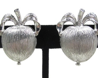 "Vintage Sarah Coventry ""Adams Delight"" Silver Tone Apple Earrings"