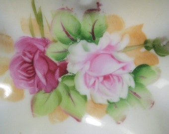 Lefton  4670-Blue/Green Scalloped Dish W/ Pink Roses