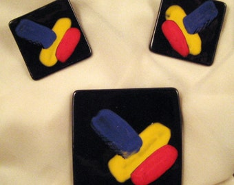 Hand Painted Vintage Modern Art Brooch and Earrings ( Discounted )