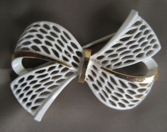 White Enamel Bow Brooch Pin
