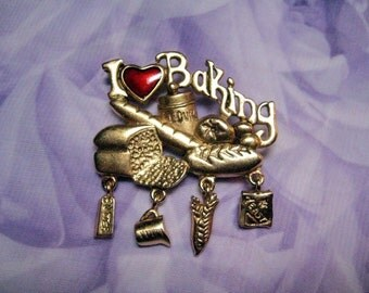 "Danecraft Signed ""I Love Baking"" Articulated Brooch"