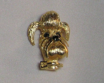 Darling Figural Dog Brooch Rhinestone Eye's and Rhinestone Nose