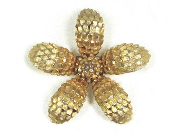 Vintage Signed BSK Gold Tone Textured Flower Brooch, Pin