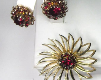 Sarah Coventry Deep Burgundy Set, 1966-1967 - Ruby Red Rhinestone Sun Flower Brooch - Pin and Earrings