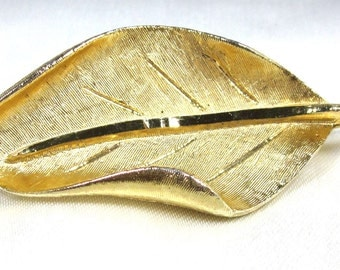 Vintage Leaf Designed Brooch, Signed by Designer BSK Diamond Cut Leaf,  Abstract