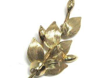 Vintage Brooch, 12 KGF Flower Buds and Textured Leaf Pin- Signed Winard 1/20th  12KG - Designer Signed