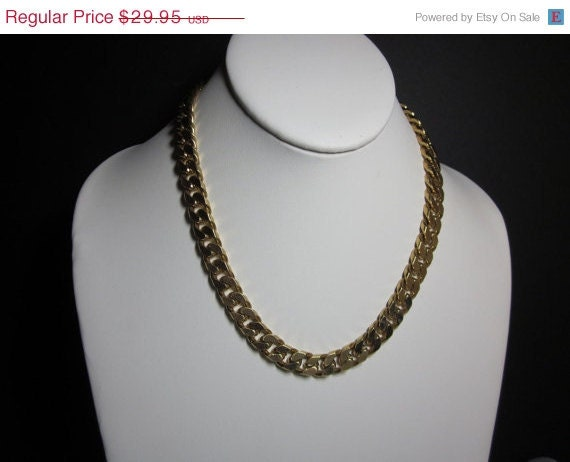 20% OFF Vintage Chunky Heavy Chain Choker / Necklace - Gold Tone - Wide Chain - Signed Citation