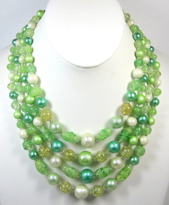 Vintage Moss Green and Teal Multi Strand Beaded Necklace - Signed Japan - Marbled Art Glass - NICE
