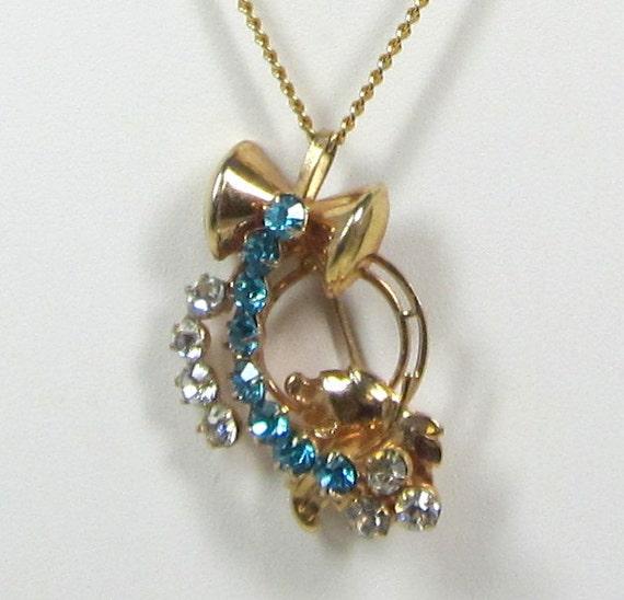 Vintage Rhinestone Brooch - Pendant - Blue Topaz - Clear Rhinestone Necklace