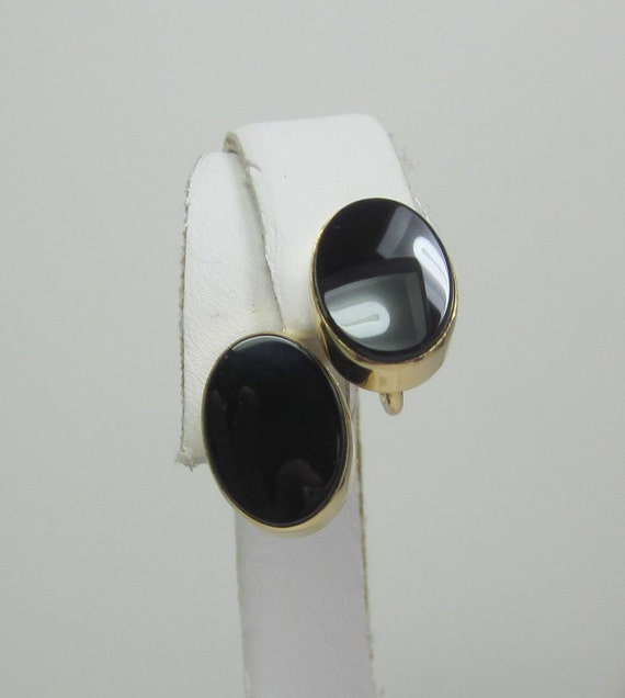 Vintage Gold plated and Onyx Earrings