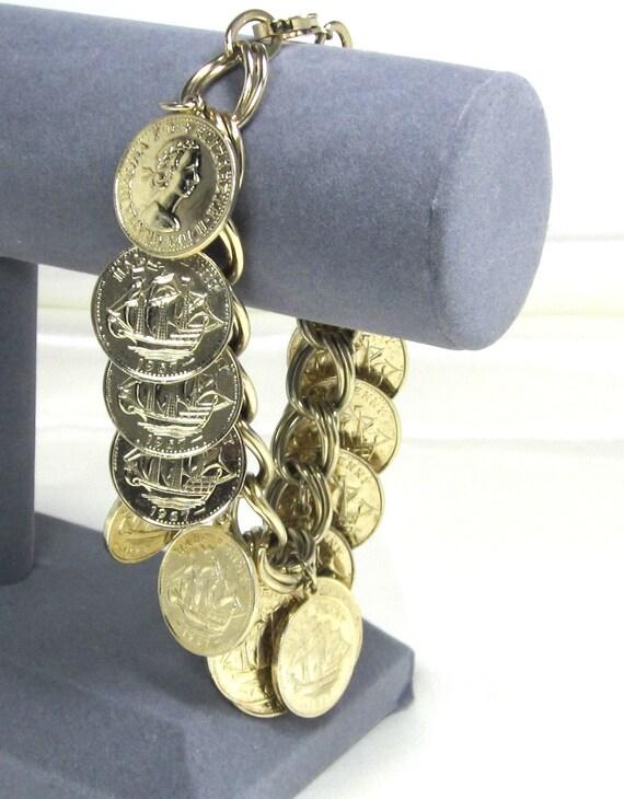 Vintage Great Britain Queen Elizabeth II 1967 Half Penny Coin Charm Bracelet, Gold Plated Bracelet
