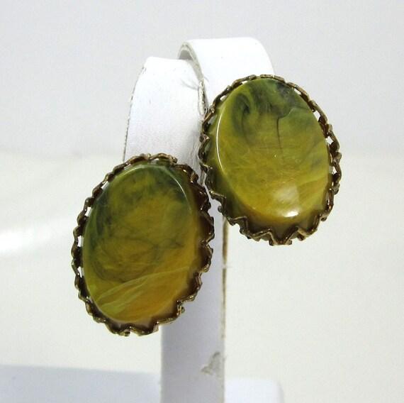 Vintage Bakelite Earrings, Green Yellow Bakelite Earrings, Marbled Bakelite