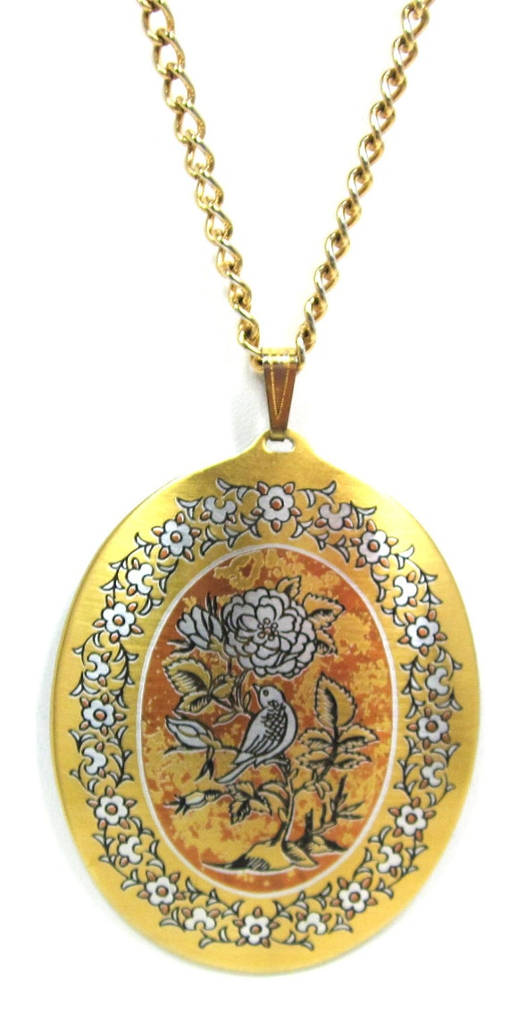 Huge Reed And Barton Damascene Pendant Necklace Collectible