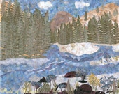 Pressed Flower Art  Giclee Print Skykomish River and Cascade Mountains NW Nature