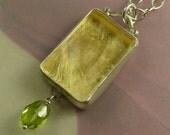 Wish Pendant in Sterling Silver, 23 karat gold leaf, Rock Quartz Crystal and Peridot