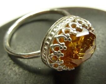 Rose Cut Citrine Ring