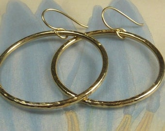 Thick golden hoops, 14 k goldfilled, recycled, sparkly earrings
