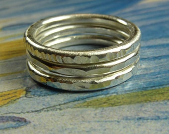 Heavy Silver Stacking Rings