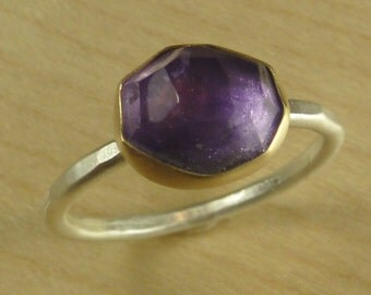 Amethyst Ring, rose cut, in 18K gold and sterling silver- size 5 3/4