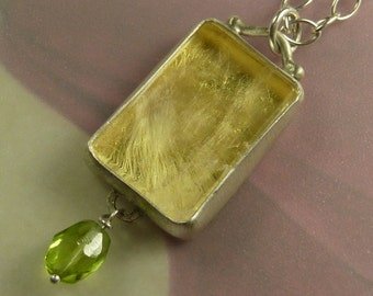 Wish Pendant in Sterling Silver, 23 karat gold leaf, Rock Quartz Crystal and Peridot