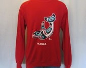 Reserved---Vintage Soft 1989 ALASKA NATIVE AMERICAN Whale Graphic Men Medium Large 50/50 Crewneck Sweatshirt