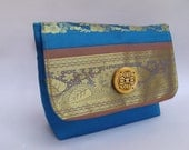 Vintage indian traditional, designer sea blue silk clutch- Ready to ship