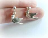 Dove Studs Sterling Silver - Bird Sterling Silver Earrings - Christian Jewelry Studs Sterling Silver - Peace Dove jewelry - Bird earring 925