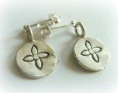 Flower Post Earrings Sterling Silver - Hand Stamped Oxidised Flower Earrings - Sterling Silver Minimal Flower Studs