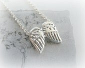 Angel Wings Necklace Sterling silver - Angel Wings Christmas Necklace - Christmas Stocking Stuffer Jewelry Sterling Silver