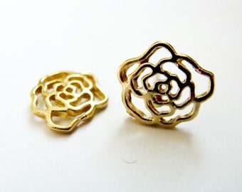 Gold Rose Studs - Metalwork Brass and Sterling Silver Rose Earring - Gold flower studs - Rose studs