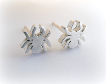 Spider Earrings - Spider Earrings Sterling Silver - Sterling Silver Spider Studs -  Spider Tiny Cartilage - Silver Spider Studs