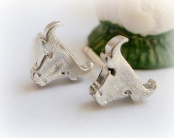 Cowboy Bull Silver Earrings - Merry Texmas Jewelry - Texas Sterling Silver Jewelry - Bull Stud - Multiple Piercing 925 - Bull Silver Jewelry