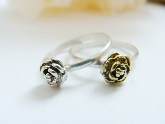 Tiny rose ring set - two stack rings sterling silver and brass - Sterling Silver rings - Rose rings - Rose stack rings - Skinny rose rings