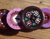 SALE Button Bracelet Handpainted Pink Lavender Orange Blue Yellow Petite Florals