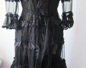 vintage inspired black ruffled lace jacket....
