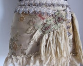 brocade wrap boho skirt...earthy hues with shabby detail and vintage motif...