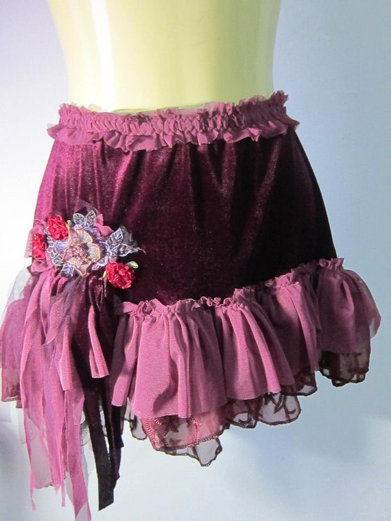 deep burgundy stretch velvet and lace mini/over skirt...