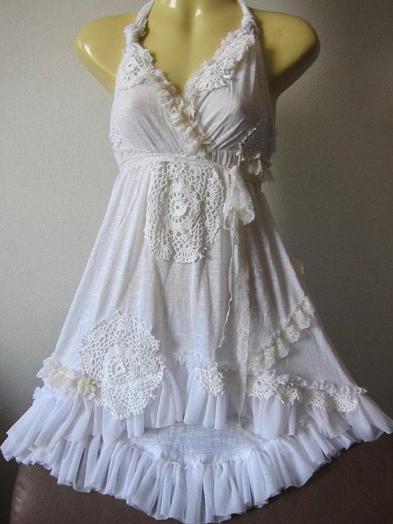 shabby chic...sweet white vintage inspired dress.......