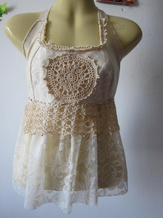 vintage inspired ivory lace baby doll halter top....