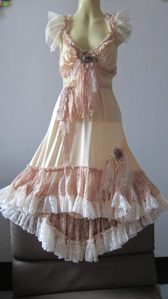 RESERVED..romantic vintage inspired golden satin,lace,roses,vintage motifs and shabby detail dress