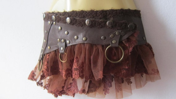 vintage inspired bohemian chocolate leather mini skirt belt/tutu with stud detail....