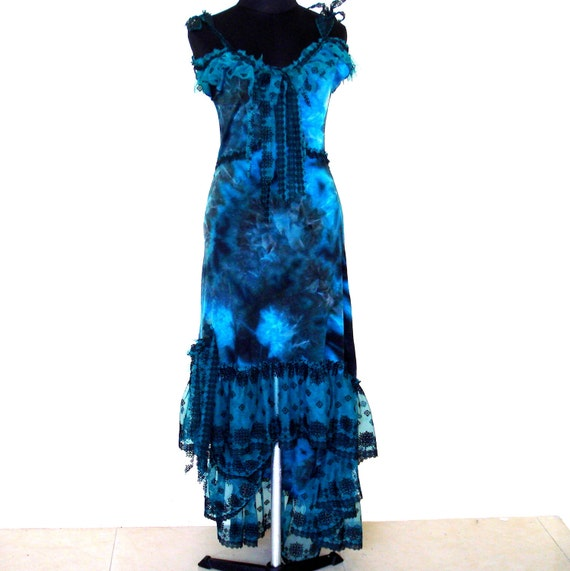 beautiful mottled blue stretch dress with heavily embroidered trim...
